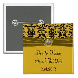 Schwarzer Damast auf Gold Save the Date Quadratischer Button 5,1 Cm
