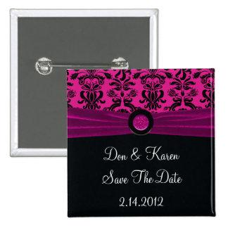 Schwarzer Damast auf Magenta Save the Date Quadratischer Button 5,1 Cm