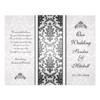 Schwarzer Damast auf silberne Hochzeits-Programm Bedruckte Flyer