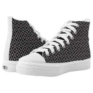 Schwarzer Diamant-hohe Spitzen Hoch-geschnittene Sneaker