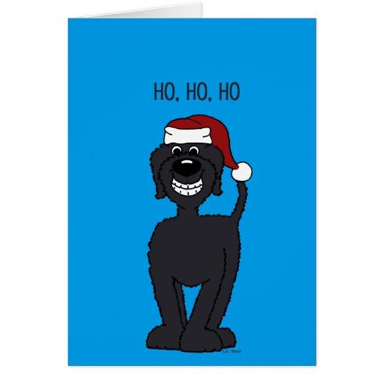 Schwarzer Doodle Santa Karte