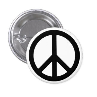 Schwarzer Friedenssymbol-Knopf Runder Button 3,2 Cm