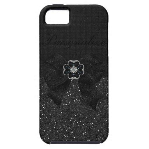 Schwarzer Glitter, Blume und Schleife Etui Fürs iPhone 5