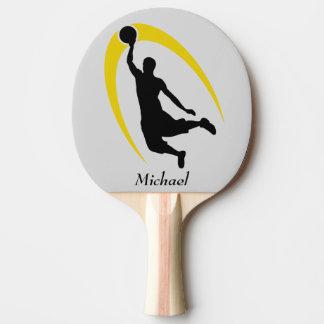 Schwarzer Goldbasketball-Spieler personalisiert Tischtennis Schläger