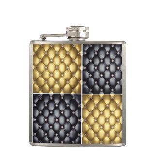 Schwarzer Golddiamant-Collagen-Muster-Entwurf Flachmann