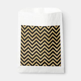 Schwarzer GoldGlitter-Zickzack Stripes Zickzack Geschenktütchen