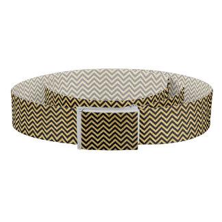 Schwarzer GoldGlitter-Zickzack Stripes Zickzack Gürtel