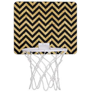Schwarzer GoldGlitter-Zickzack Stripes Zickzack Mini Basketball Netz