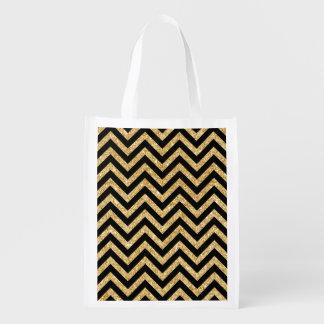Schwarzer GoldGlitter-Zickzack Stripes Zickzack Wiederverwendbare Einkaufstasche
