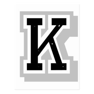 schwarzer grauer Buchstabe K Postkarten