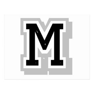 schwarzer grauer Buchstabe M Postkarte