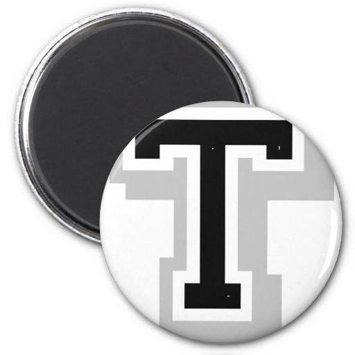 schwarzer grauer Buchstabe T Magnets