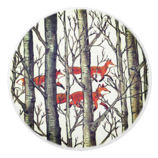 Schwarzer grauer Fox-Fuchs-Waldwaldfach-Zug Keramikknauf