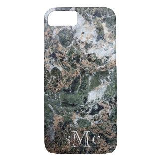 Schwarzer grüner weißer Pfirsich-Marmor iPhone 8/7 Hülle