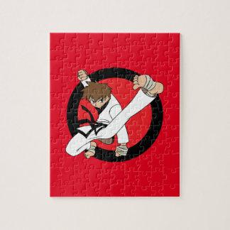 Schwarzer Gurt-Karate/Ninja brünetter Junge Puzzle