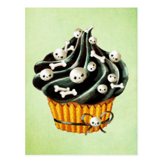 Schwarzer Halloween-kleiner Kuchen mit den kleinen Postkarte
