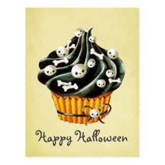 Schwarzer Halloween-kleiner Kuchen Postkarte