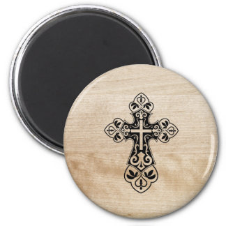 Schwarzer heiliger christlicher querer hölzerner runder magnet 5,7 cm