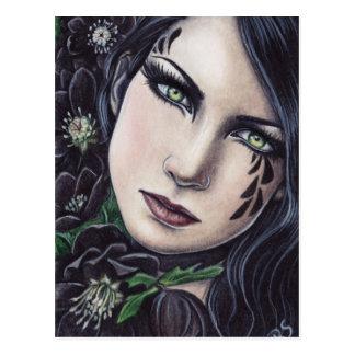 Schwarzer Hellebore-Fantasie-Postkarte Postkarte
