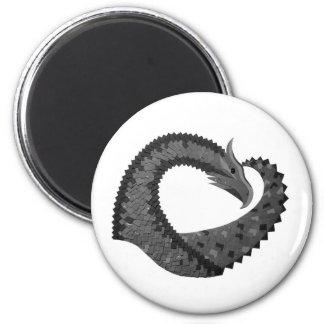 Schwarzer Herzdrache auf Weiß Runder Magnet 5,1 Cm