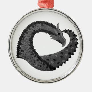 Schwarzer Herzdrache auf Weiß Silbernes Ornament