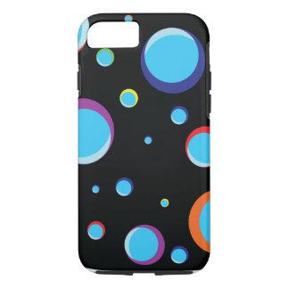 Schwarzer Hintergrund mit farbigen Blasen iPhone 8/7 Hülle