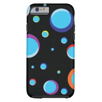 Schwarzer Hintergrund mit farbigen Blasen Tough iPhone 6 Hülle