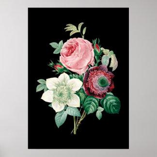 Schwarzer Hintergrund-Rosenblumenstrauß von Poster