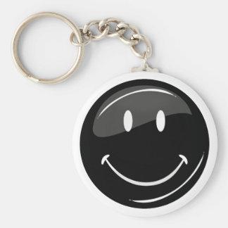 Schwarzer Hipster-glücklicher Gesichts-Knopf Standard Runder Schlüsselanhänger