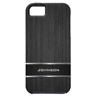 Schwarzer hölzerner Blick mit silbernem Metalllede iPhone 5 Schutzhülle