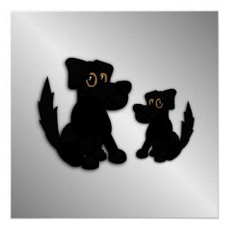Schwarzer Hundefamilie Poster