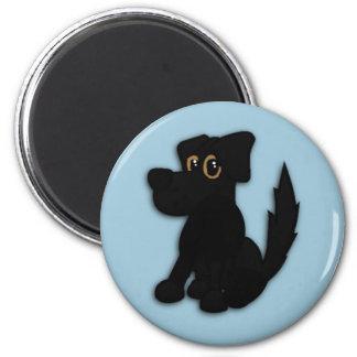 Schwarzer Hundehündchen-Blau Runder Magnet 5,1 Cm