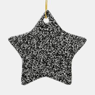 Schwarzer Imitat-Glitter Keramik Stern-Ornament