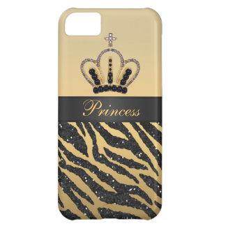 Schwarzer Imitat-Glitterzebra-Druck u. Juwel-Krone iPhone 5C Hülle