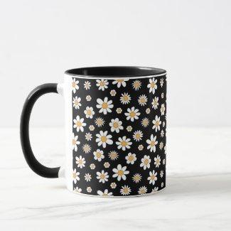 schwarzer Kaffeebecher mit weißen Blumen Tasse