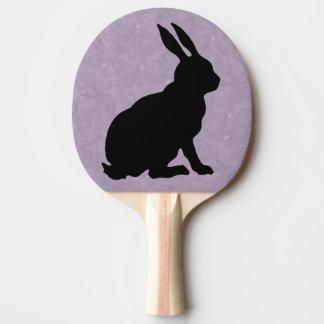 Schwarzer Kaninchen-Silhouette-Osterhase Tischtennis Schläger