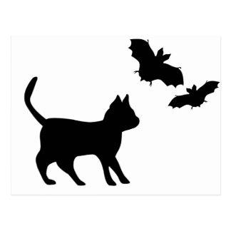 Schwarzer Kater mit Fledermaus Postkarte