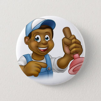 Schwarzer Klempner-Heimwerker mit Punger Runder Button 5,7 Cm