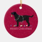 Schwarzer Labrador-frohe Weihnacht-Entwurf Keramik Ornament