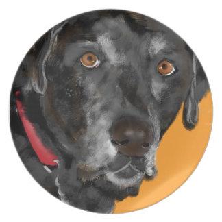Schwarzer Labrador Melaminteller