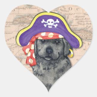 Schwarzer Labrador-Pirat Herz-Aufkleber
