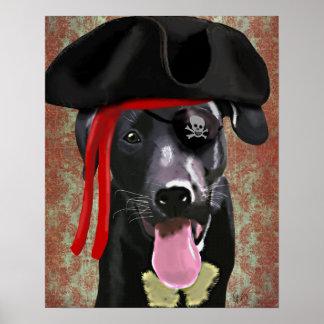 Schwarzer Labrador-Piraten-Hund Poster