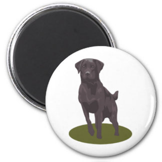 Schwarzer Labrador Runder Magnet 5,1 Cm