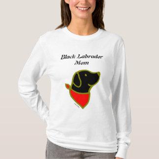 Schwarzer Labrador- u. Schal-Cartoon T-Shirt