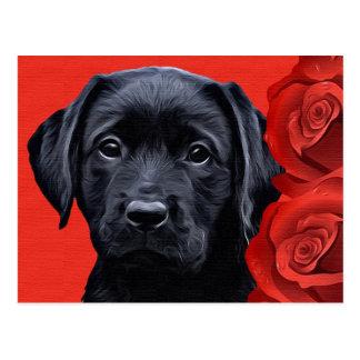 Schwarzer Labrador-Welpe - Valentine-Rosen Postkarte
