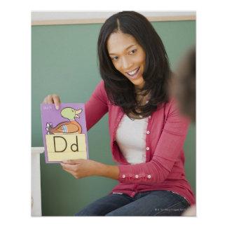 Schwarzer Lehrer, der Flash-Karte des Buchstaben d Posterdruck