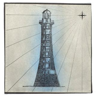 Schwarzer Leuchtturm-Marinedruck mit blauem Rahmen Stoffserviette