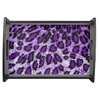 Schwarzer lila Leopard-Muster-Druck-Entwurf Tablett