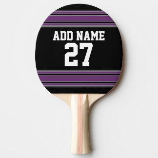 Schwarzer lila Sport Jersey mit Ihrem Namen u. Tischtennis Schläger