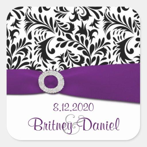 Schwarzer lila u. weißer Damast-Hochzeits-Umschlag Quadrataufkleber
